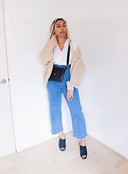 Lavinya Royes - Primark Cable Knit, H&M White Shirt, Primark Belt Bag, Asos Flare Jeans, New Look Mules - Autumn Is Coming ?