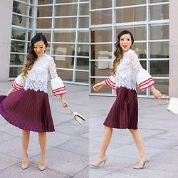 Sasa Zoe - Top, Skirt, Earrings, Heels, Bag - FALL DATE NIGHT