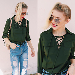 Zuzana - Army Green Lace Up Shirt, Giant Vintage Retro Aviator Sunnies, Romwe Mom Jeans Distressed, Sarah Briggs Chain Bracelet Silver, Zara Mini Thin Belt, Botkier Warren Backpack - 80'S DENIM REVIVAL