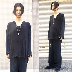 @KiD - Monochrome Black Shirts, Monochrome Black Wide Pants, Nike Comme Des Garçon, Love Jessie Design Ring - Japanese Trash202