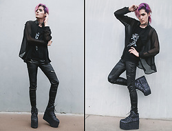 Kyris Kat - Yru Glitter Galactic Platforms, Zara Faux Leather Pants, Style By Nicky Pentagram Tank Top, Unif Spiked Sheer Black Top, Midnyte Fantasy Clear O Ring Choker - Space Grunge