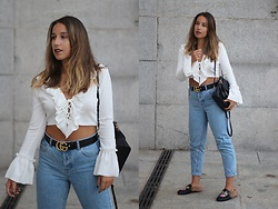 Claudia Villanueva - Wear All Top, Shein Backpack, Pull & Bear Jeans, Shein Shoes - Warm Autumn Combination