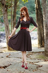 Bleu Avenue - Karina Dresses Trudy Dress In Cranberry Cross Dots, Qupid The Zest Is History Heel In Burgundy - Hello, Karina!
