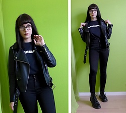Marguerite Jam - Chloé Glasses, Mim Faulx Leather Jacket, Rammstein Shirt, New Look Pants, Dr. Martens Shoes - Keep it simple
