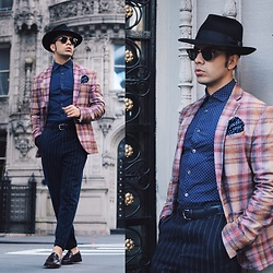 Franko Dean - Goorin Brothers Hat, Zara Vintage Blazer, Asos Dot Shirt, Ray Ban Clubmaster Sunglasses, Asos Wide Stripe Pants - Vintage Etiquette