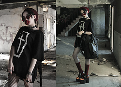 Louis Liao - Oribagu Black Bighorn Backpack, Unholy Lab 'Cultagram' Socks, Unholy Lab Pyro Platform, Fearless Coffin Tee, Solo Accessories Accs - FEARLESS