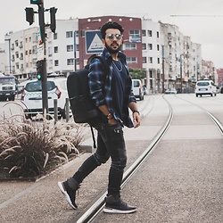 Khalil Alaoui - Slateandstone Shirt, Eastpak Backpack, Balmain Jean - Confidence is the key