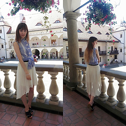 Justyna - Mango Sleeveless Blouse, New Look Pleated Skirt, Nine West Denim Mules - Waiting for my prince from fairytale