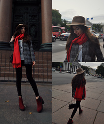 Anastassia Kalistova - H&M Short Coat, H&M Felt Hat, H&M Wool Red Scarf, Guess Cool Mix Crossbody Bag, H&M Burgundy Boots - Favorite fall look
