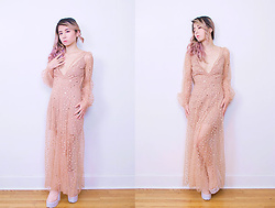 Lovely Blasphemy - For Love & Lemons All That Glitters Maxi Dress, Jeffrey Campbell Shoes Patent Pink Mulder Boots - Not all that glitters is gold