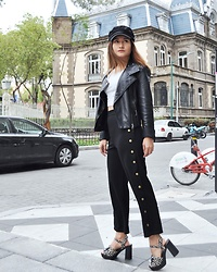 Anshal - Shein Pants, Bebe Leather Jacket, Topshop Shoes - Black in the city
