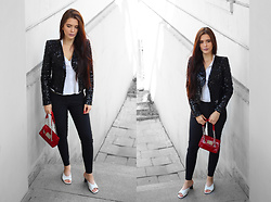 Justyna Lis - Reserved Sequin Jacket, Prada White Mules, New Look Skinny Pants, New Look White Shirt - Sequin jacket