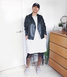 Lavinya Royes - New Era Cap, Mango Leather Jacket, Zara Jumper Dress, Miss Pap Skirt, H&M Trainers -       Cool Tones