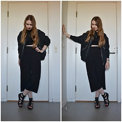 Mucha Lucha - Weekday Bomber, H&M Crop Top, H&M Culottes, Vagabond Sandals - A little too black