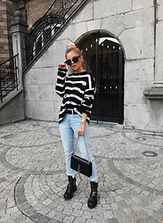 Romina M. - Zara Striped Pullover, Ysl Clutch, Lovers + Friends Jeans, Sacha Cut Out Boots - Instagram: @Donnaromina