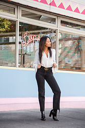 Alexandra Lord - Forever 21 Contemporary Ruffle Shirt, Urban Outfitters Bdg Mom Jeans, Forever 21 Mini Backpack, Forever 21 Patent Leather Sock Booties, Gucci Marmont Belt - CITY SLICKER