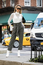 Lauren Recchia - Intermix Lace Bodysuit, Topshop Trousers, Manolo Blahnik Booties - Mensy Trousers