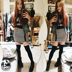 Luc S. - Zara Denim Jacket, Stradivarius Geometric Zip Up Skirt, Calzedonia Knee Socks, Yeves Martin Chunky Boots - Where the lines overlap.