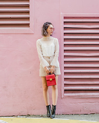 Arielle - Oak And Fort Mesh Top, Mango Suede Skirt, Zara Box Bag, Zara Leather Sock Boots, Zaful Round Pink Sunglasses - A sheer top and a pink wall
