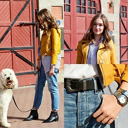 Taylor Doucette - Zaful Yellow Leather Jacket, Guess Western Belt, Citizens Of Humanity Boyfriend Jeans, Old Navy Black Booties - San Diego, 1988- The Darcys