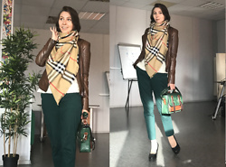 Jane V.I. - Leather Brown Blazer, Emerald Pants, Burberry Scarf, Emerald And Brown Bag, Black Pumps - Hello fall