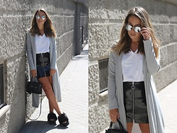 Claudia Villanueva - Zaful Sunglasses, Wear All Coat, Zara T Shirt, Zara Skirt, H&M Bag, Asos Sandals - Grey Duster Coat