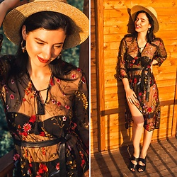 Natasha Karpova - Aliexpress Floral Embroidery Dress, H&M Hat - FLORAL SEPTEMBER
