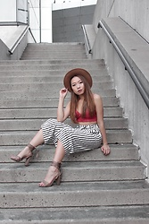 Vivian Quan - Zara Striped Culottes, Payless Taupe Strappy Heels, Forever 21 Tan Fedora, American Eagle Outfitters Red Lace Bralette - Rusty Red x Vertical Stripes