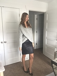Cindy Batchelor - Amazon Cozy Gray Wrap Sweater $17 - Cozy Gray Wrap Sweater & Faux Leather Pencil Skirt