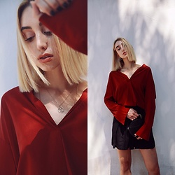 Ana Prodanovich - Zara Button Down Shirt - Red, Red Wine Hues