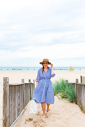 Ashley Hutchinson - Shein Striped Shirtdress, Everlane White Leather Tote, Forever 21 Boater Hat - Lakeside Summers