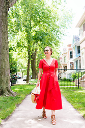 Ashley Hutchinson - Free People Wicker Basket Bag, Saloni Red Midi Dress, Forever 21 Lace Up Wedges - Summer Picnic Basket