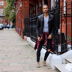 Henry & William Wade - Allsaints Leather Jacket, Zara V Neck Regular Fitted Tee, Boohoo Check Shirt, Boohoo Distressed Denim Skinny Jeans, Ask The Missus Chelsea Boots In Suede - Autumn styling