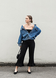 Jenaly Enns - Calvin Klein Vintage Oversized Denim Jacket, Forever 21 Ruffle Trousers, Forever 21 Round Toe Mules - Denim off the shoulder