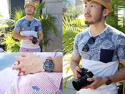 Nick Wang - Zara Pineapple Tee, Urban Outfitters Pork Pie Hat, Brooks Brothers Crab Print Shorts - Mr Krabby Pants