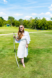 Ashley Hutchinson - Old Navy White Denim Jacket, White Midi Dress - White Archery Look