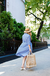 Ashley Hutchinson - Shein Striped Shirt Dress, Apolis Chicago Burlap Tote, Forever 21 Straw Boater Hat - Chicago Blogger Style
