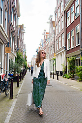 Ashley Hutchinson - Anthropologie Green Maxi Dress, Zara White Moto Jacket, Everlane White Tote - Green Maxi Dress in Amsterdam