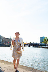 Ashley Hutchinson - Silver Dress, Zara White Moto Jacket, Chloé Gold Drew Bag - Silver Dress in Amsterdam