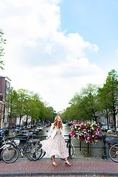 Ashley Hutchinson - Vintage Floral Midi Dress, Zara White Moto Jacket - Vintage Florals on the Amsterdam Canals