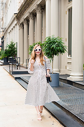 Ashley Hutchinson - Anna October Polka Dot Midi Dress, Asos White Sandals, Céline Black Box Bag - NYFW || Polka Dots in Tribeca