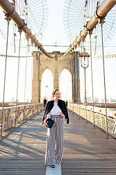 Ashley Hutchinson - Asos Military Denim Jacket, Shein White Ruffle Blouse, Bcbg Striped Palazzo Pants, Céline Black Box Bag - NYFW || Stripes on the Brooklyn Bridge