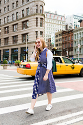 Ashley Hutchinson - Warehouse Gingham Midi Dress, Zara White Embroidered Sneakers, Zara White Button Down Shirt, Mcm Green Leather Backpack, Prada Pink Mirrored Sunglasses - Sightseeing at the Flatiron