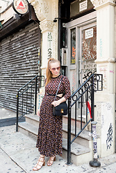 Ashley Hutchinson - A.L.C. Printed Midi Dress, Céline Black Box Bag, Valentino Tan Rockstud City Sandal, Prada Pink Mirrored Sunglasses - NYFW || A.L.C. Dress