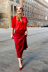 Ashley Hutchinson - Red Sweater, Red Silk Midi Skirt, Gianvito Rossi Red Suede Pumps, Prada Pink Mirrored Sunglasses - All Red Look
