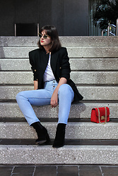 Gemini Tauberge - Miu Sunglasses, Theyskens' Theory Boots, Everlane Tee - Jeans and Blazer