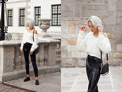 MONIKA S - White Fluffy Sweater, Patent Leather High Waisted Pants, Leather Mini Clutch, Leather Shoes, Silver Necklace, Silver Hoop Earrings - NEVER TEAR US APART