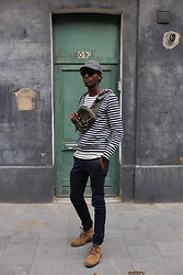 Jon The Gold - Petit Bateau Striped Hoodie, Uniqlo Blue Skinny Chino, Levi's® Suede Boots - Stripes