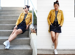 Manda L - Zara Button Front Skirt, Adidas Alphabounce, Zara Yellow Faux Leather Jacket, Ray Ban Sunnies - Feeling like Fall