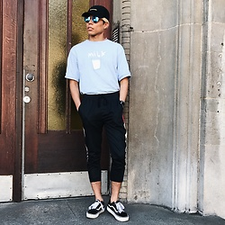 Felipé - Runaway Clothing Black Hat, Vans Platform, Zetton Milk Shirt, Yuan Fang Color Block Pants - Got Milk?